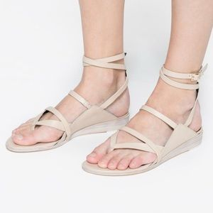 Tibi Leather Strappy Flat Sandals